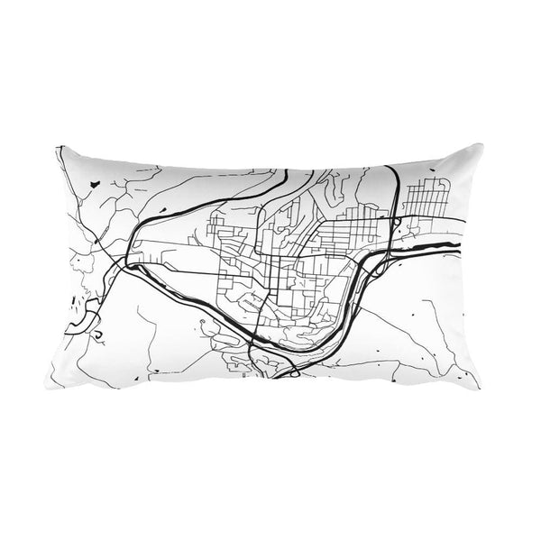 Athens black and white throw pillow with city map print 12x20