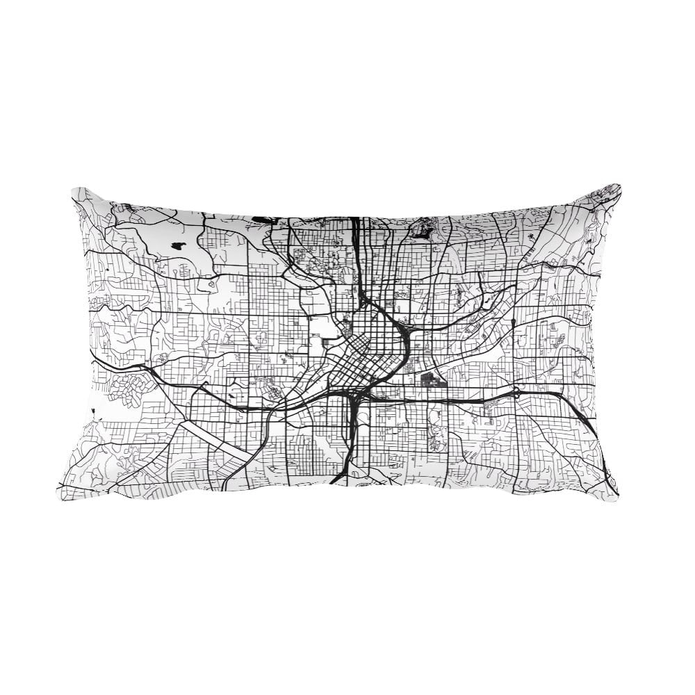 Atlanta black and white throw pillow with city map print 12x20