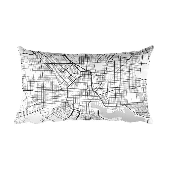 Baltimore black and white throw pillow with city map print 12x20