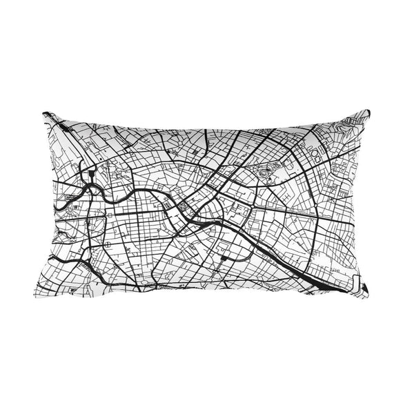 Berlin black and white throw pillow with city map print 12x20