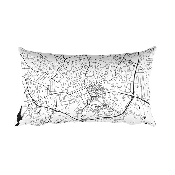 Chapel Hill black and white throw pillow with city map print 12x20