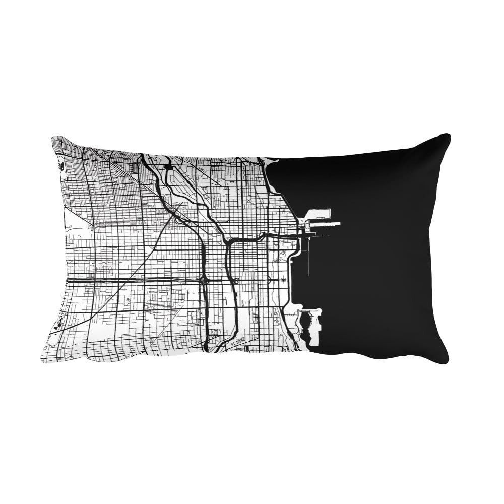 Chicago black and white throw pillow with city map print 12x20