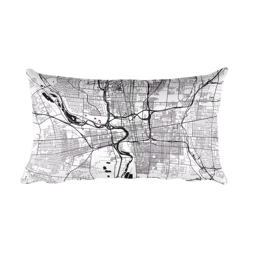 Columbus black and white throw pillow with city map print 12x20