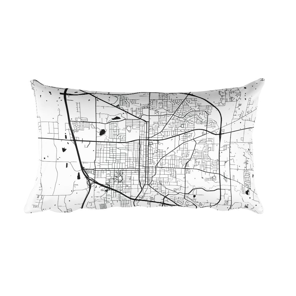 Denton black and white throw pillow with city map print 12x20