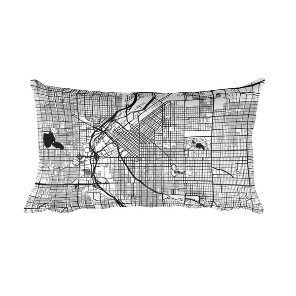 Denver black and white throw pillow with city map print 12x20