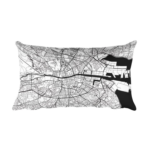 Dublin black and white throw pillow with city map print 12x20