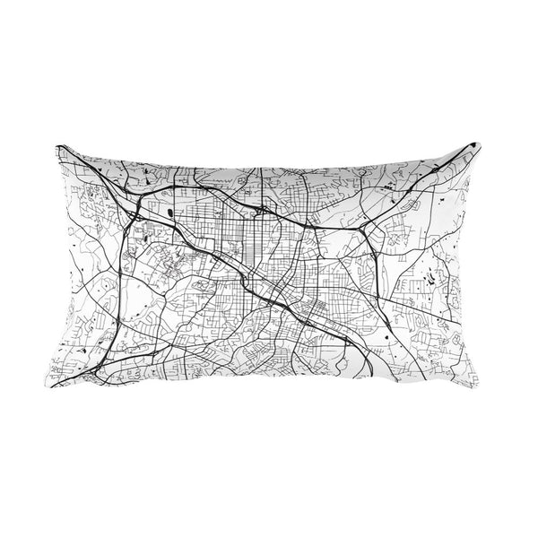 Durham black and white throw pillow with city map print 12x20