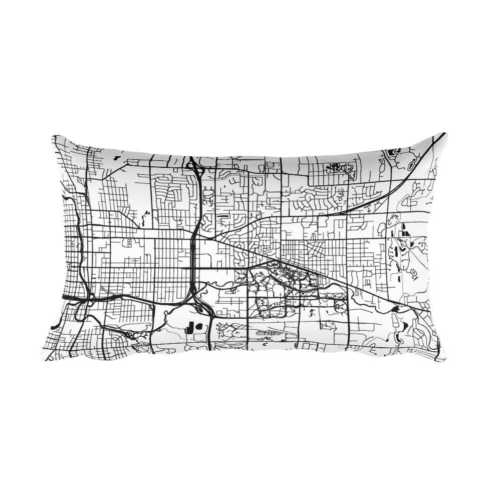 East Lansing black and white throw pillow with city map print 12x20