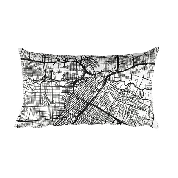 Houston black and white throw pillow with city map print 12x20