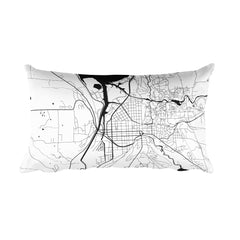 Ithaca black and white throw pillow with city map print 12x20