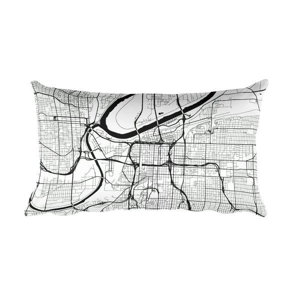 Kansas City black and white throw pillow with city map print 12x20