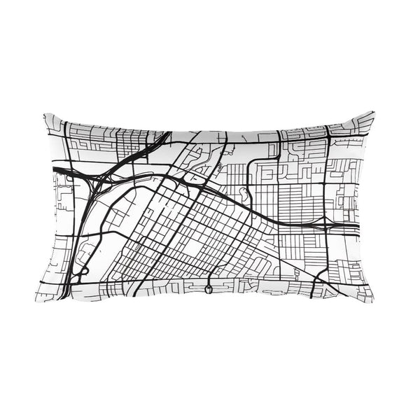 Las Vegas black and white throw pillow with city map print 12x20