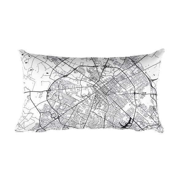 Lexington black and white throw pillow with city map print 12x20