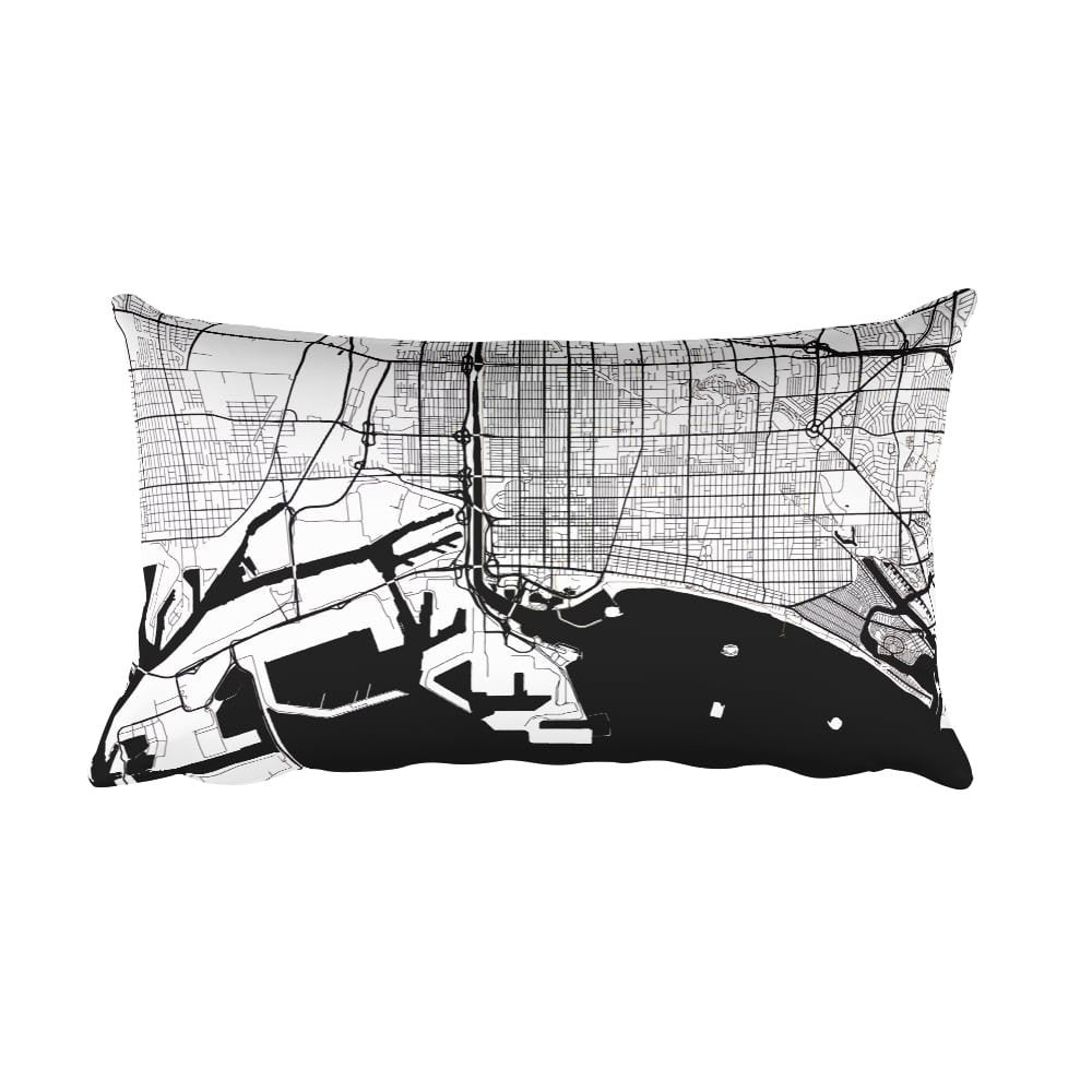 Long Beach black and white throw pillow with city map print 12x20