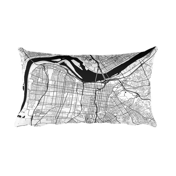 Louisville black and white throw pillow with city map print 12x20