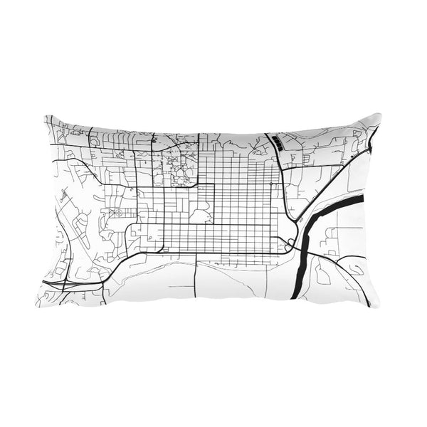 Manhattan black and white throw pillow with city map print 12x20