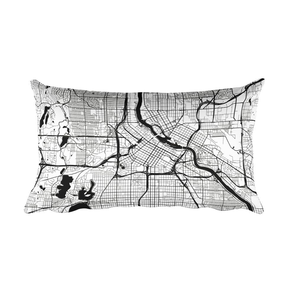 Minneapolis black and white throw pillow with city map print 12x20