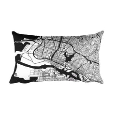 Oakland black and white throw pillow with city map print 12x20