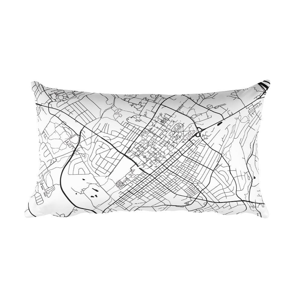 State College black and white throw pillow with city map print 12x20