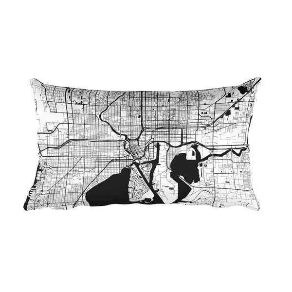 Tampa black and white throw pillow with city map print 12x20