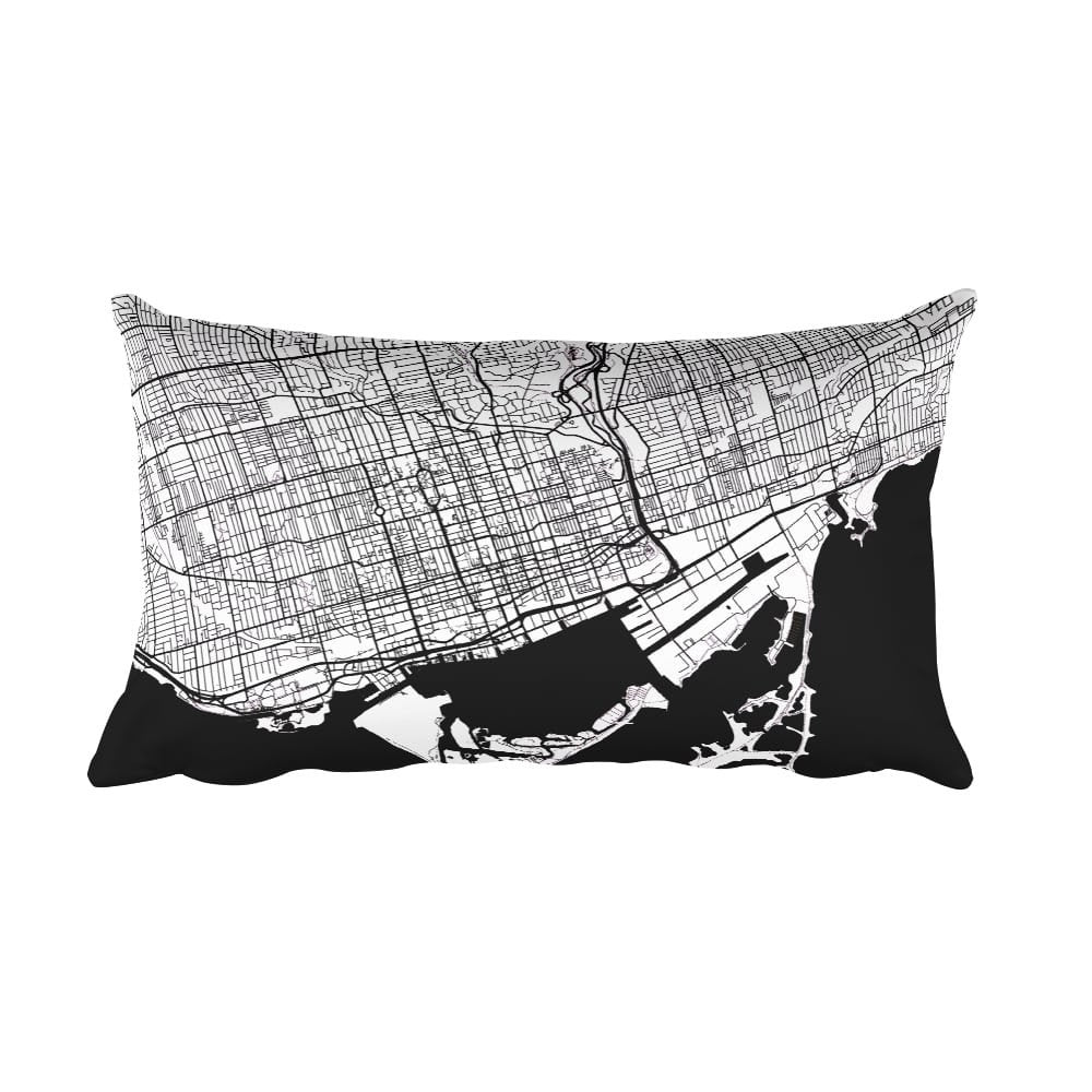 Toronto Map Black And White Throw Pillow By Modern Map Art