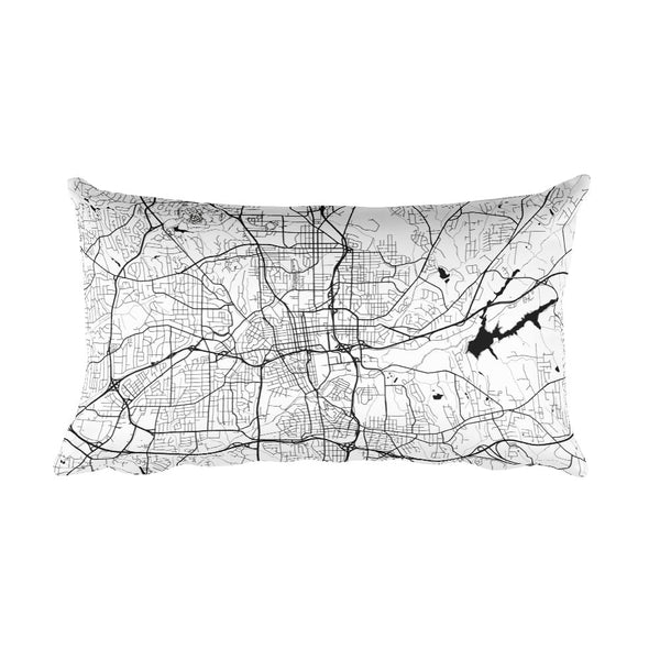 Winston Salem black and white throw pillow with city map print 12x20