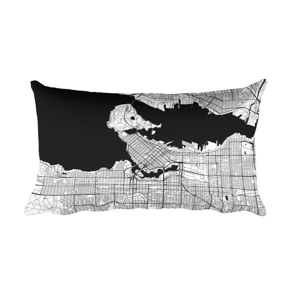 Vancouver black and white throw pillow with city map print 12x20