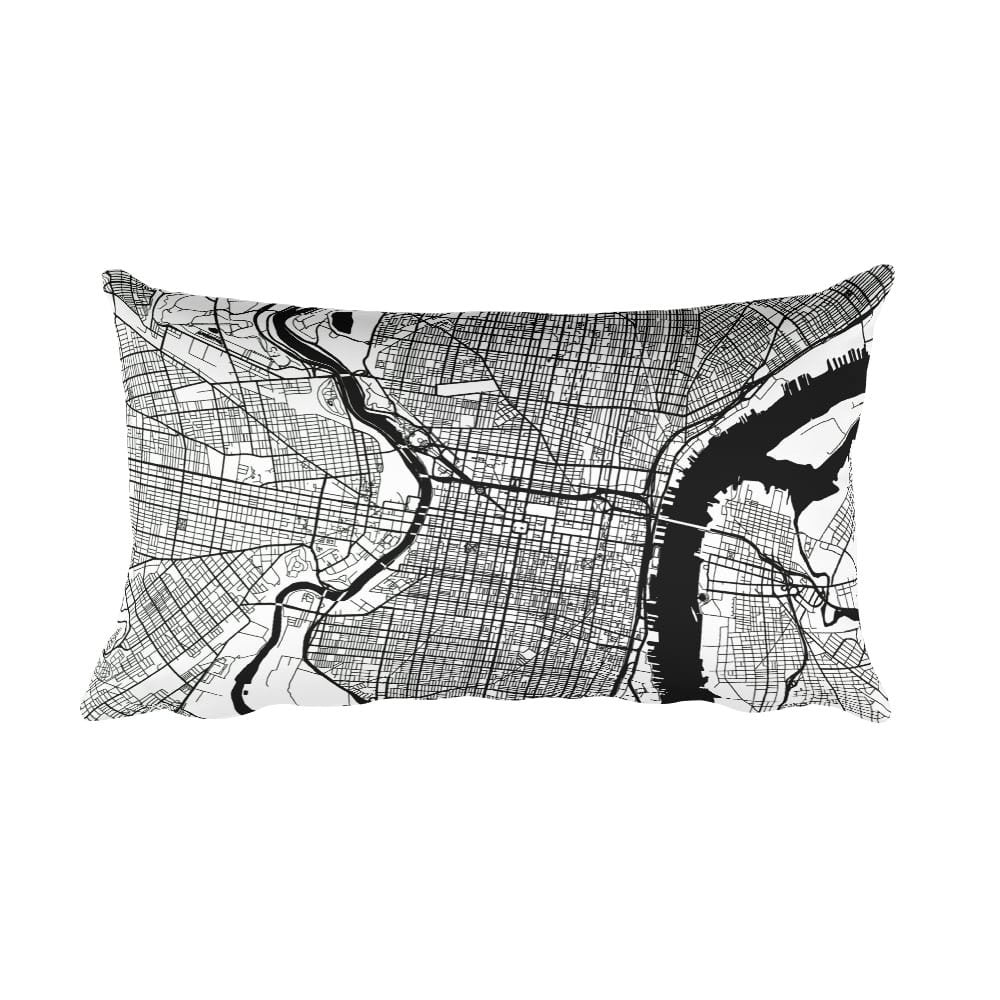 Philadelphia PA black and white throw pillow with city map print 12x20