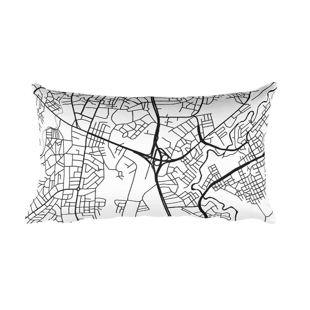 Addis Ababa black and white throw pillow with city map print 12x20