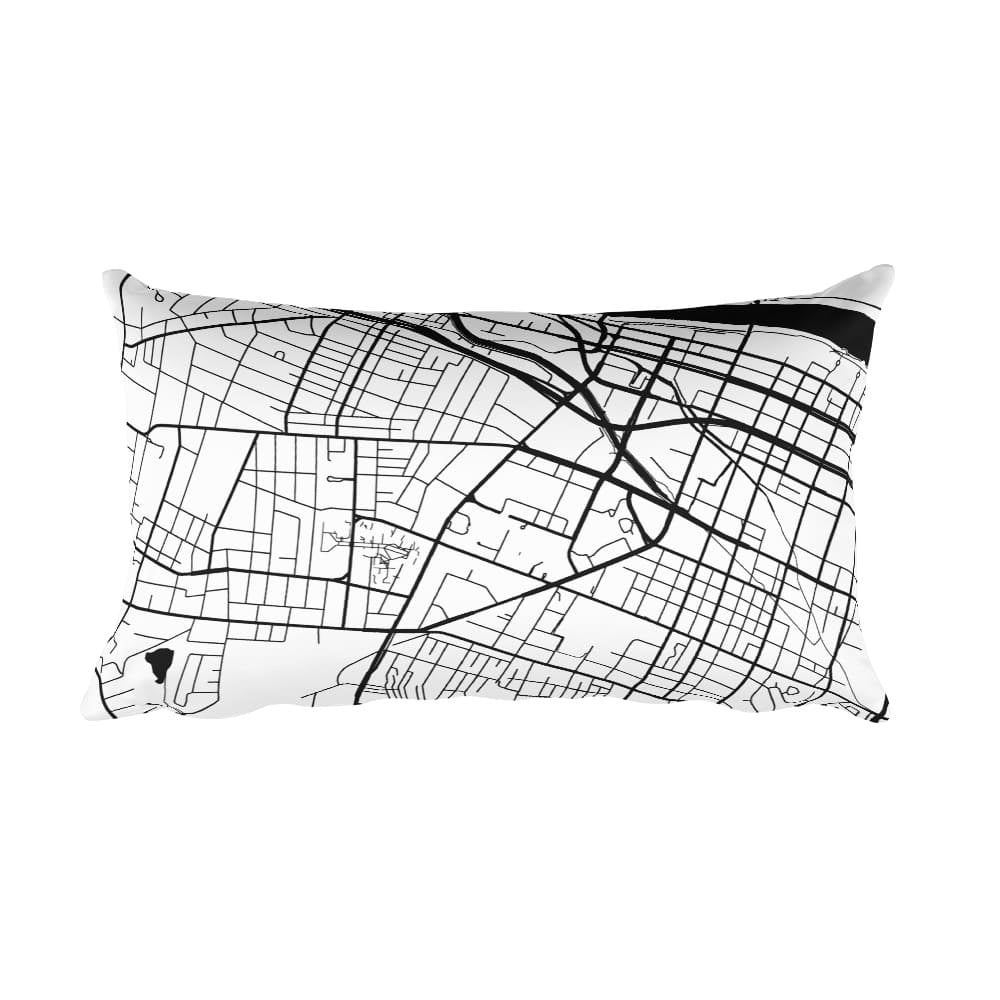 Augusta black and white throw pillow with city map print 12x20