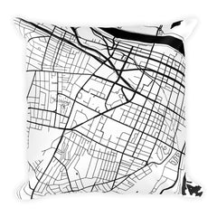 Augusta black and white throw pillow with city map print 18x18