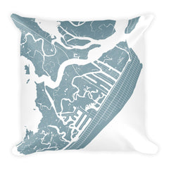Avalon black and white throw pillow with city map print 18x18