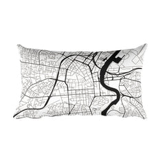 Belfast black and white throw pillow with city map print 12x20