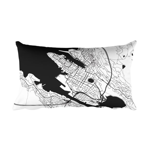 Bergen black and white throw pillow with city map print 12x20