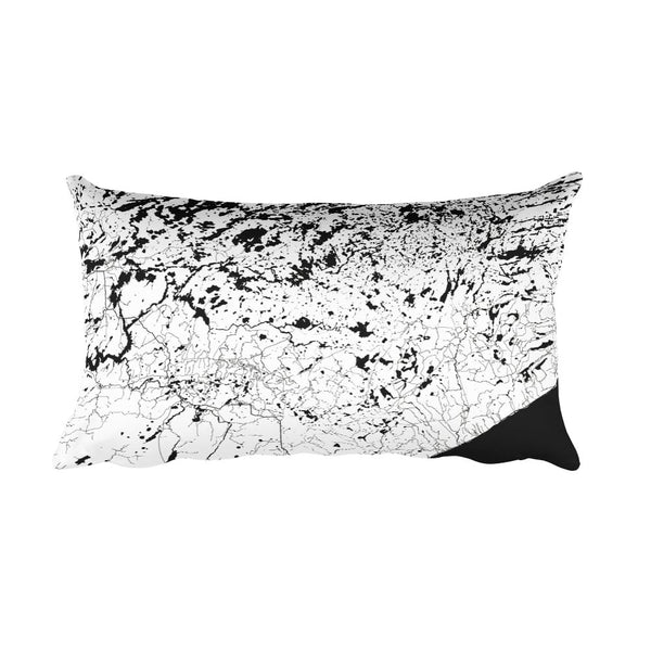 Boundary Waters black and white throw pillow with city map print 12x20