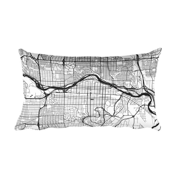 Calgary black and white throw pillow with city map print 12x20