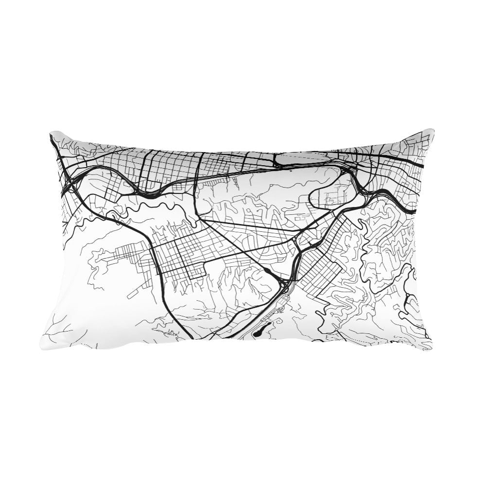 Caracas black and white throw pillow with city map print 12x20