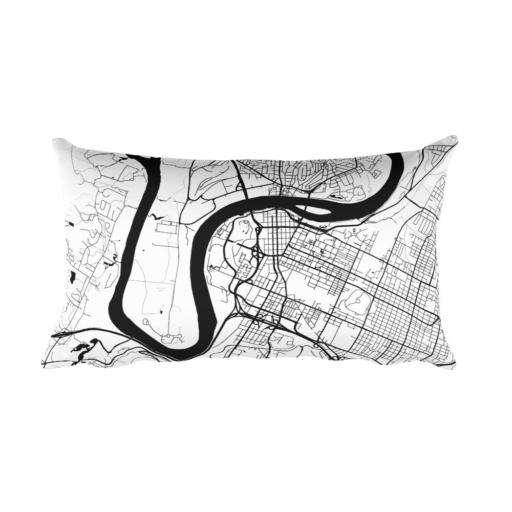 Chattanooga black and white throw pillow with city map print 12x20