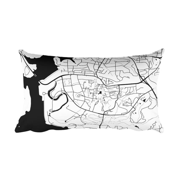 Clemson black and white throw pillow with city map print 12x20