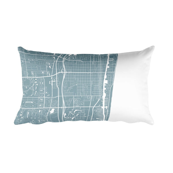 Delray Beach black and white throw pillow with city map print 12x20