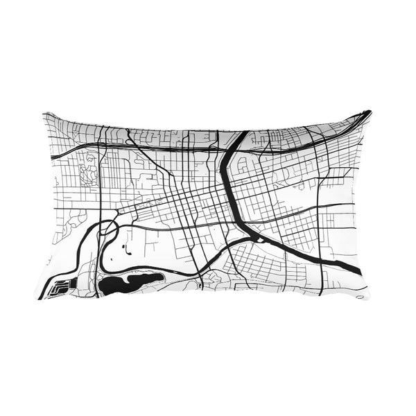 Des Moines black and white throw pillow with city map print 12x20