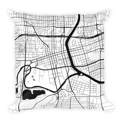 Des Moines black and white throw pillow with city map print 18x18