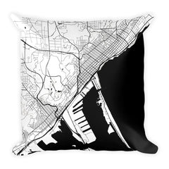 Duluth black and white throw pillow with city map print 18x18