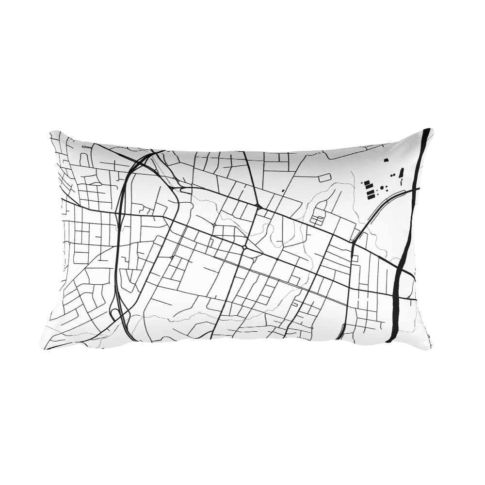 Fayetteville black and white throw pillow with city map print 12x20