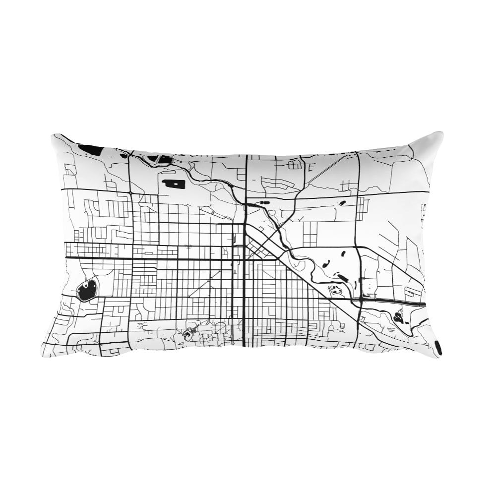 Fort Collins black and white throw pillow with city map print 12x20