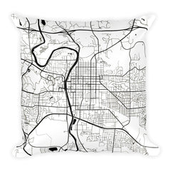 Iowa City black and white throw pillow with city map print 18x18
