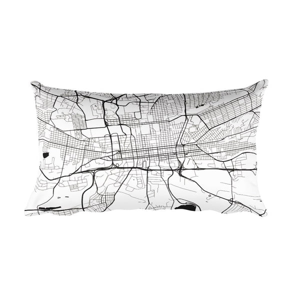 Johannesburg black and white throw pillow with city map print 12x20