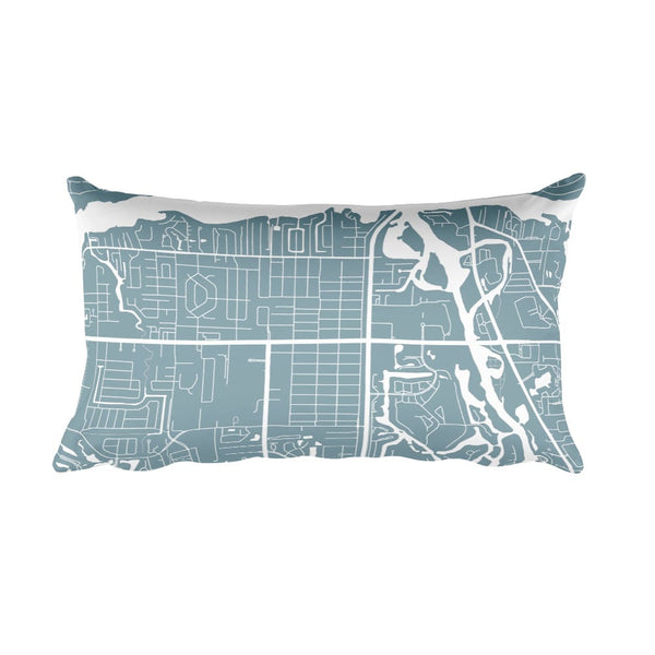 Jupiter black and white throw pillow with city map print 12x20