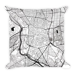 Madrid black and white throw pillow with city map print 18x18