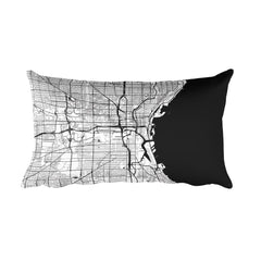 Milwaukee black and white throw pillow with city map print 12x20